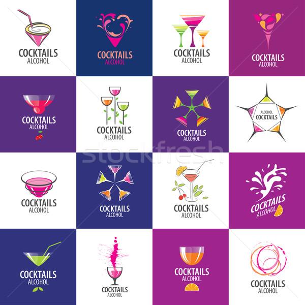 Cócteles logo vector iconos bebidas fiesta Foto stock © butenkow