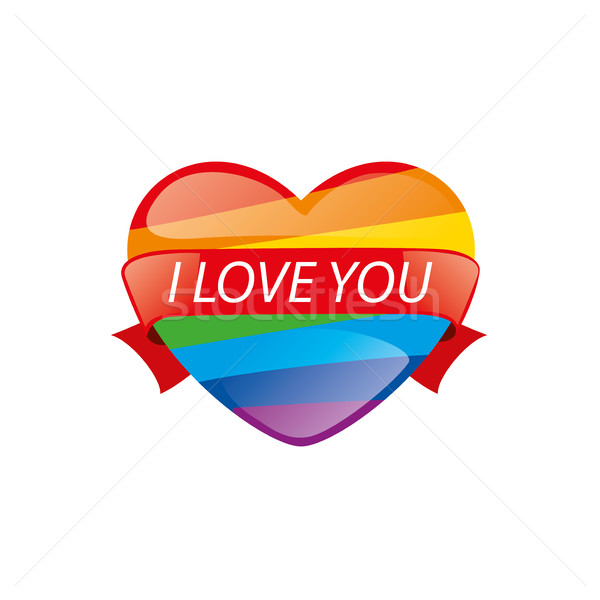 Logo coeur Rainbow design gay lesbiennes Photo stock © butenkow