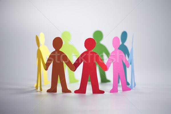 люди оригами форма круга бумаги рук Сток-фото © butenkow
