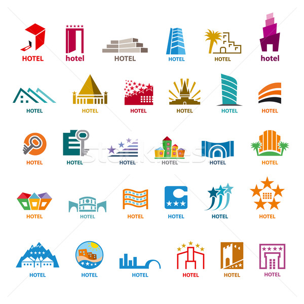 biggest collection of vector logos buildings for leisure tourism Stock photo © butenkow