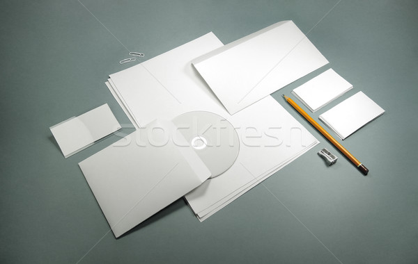blank template for business cards, letterheads, envelopes and ba Stock photo © butenkow