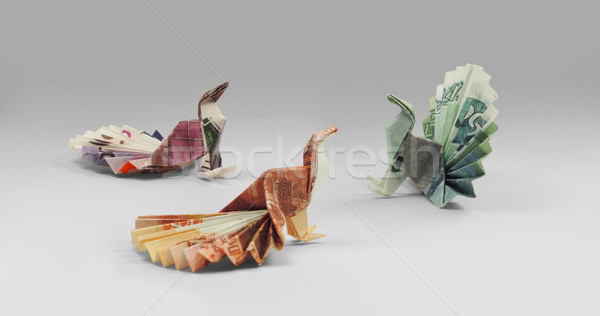 three bird origami banknotes walking Stock photo © butenkow