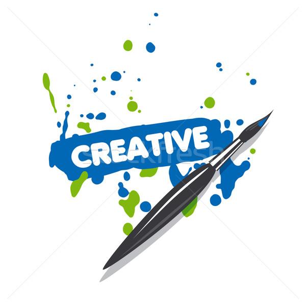 ベクトル ロゴ ブラシ 青 緑 スプレー式塗料 ストックフォト © butenkow