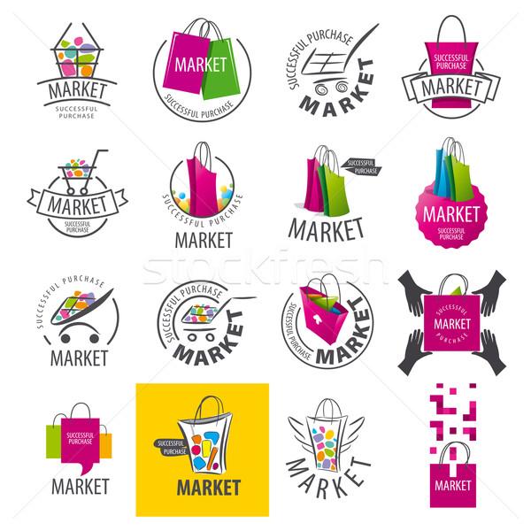 Foto stock: Grande · establecer · vector · logos · mercado · negocios