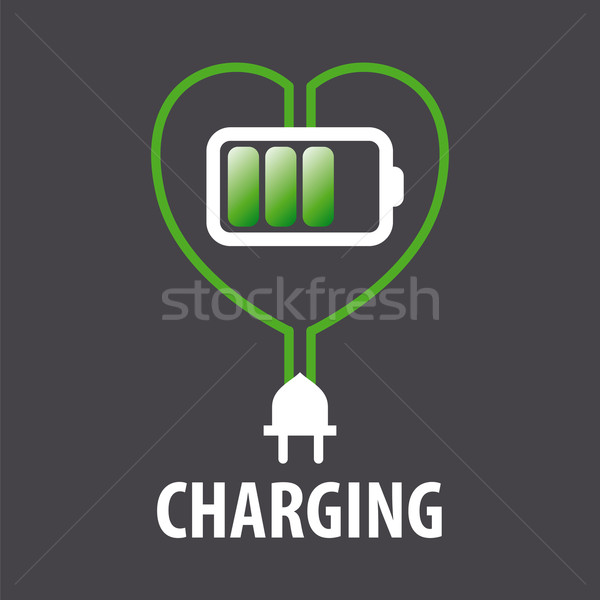 vector logo battery in the heart and cable with plug Stock photo © butenkow