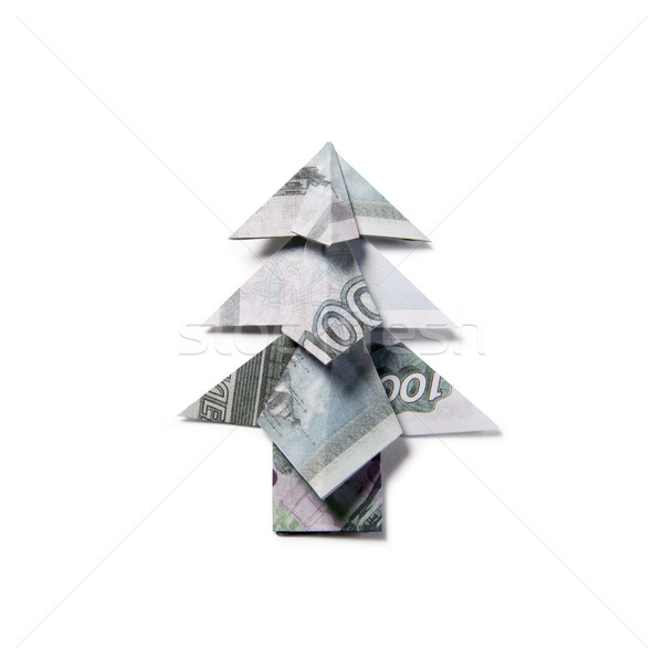 Real One Dollar Bill Origami Art Miniature CHRISTMAS TREE with ... | 600x600