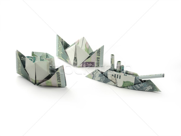 collection of origami ships of one thousand ruble banknotes Stock photo © butenkow