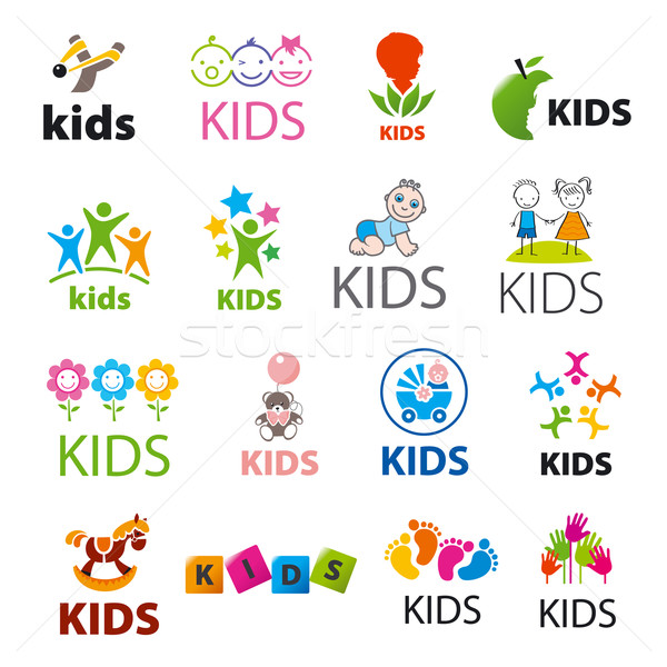 biggest collection of vector logos children Stock photo © butenkow