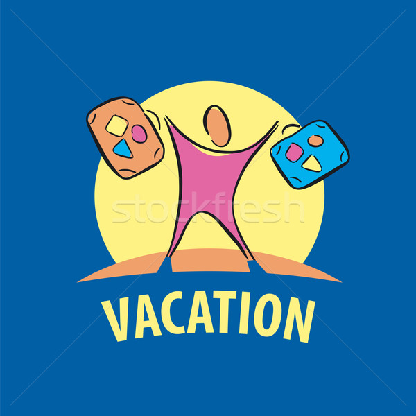vector logo tourist traveling with suitcases Stock photo © butenkow