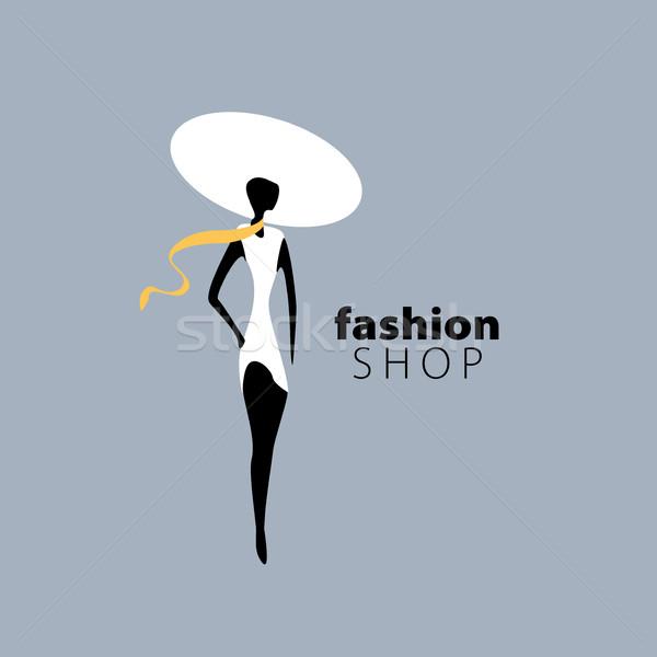 Wektora logo dziewcząt moda ilustracja dziewczyna Zdjęcia stock © butenkow