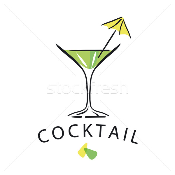 vector logo cocktail glass with umbrella Stock photo © butenkow