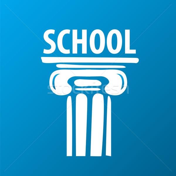 Vector logo onderwijs oude kolom kind Stockfoto © butenkow