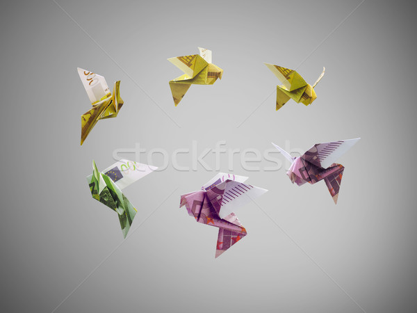 Origami oiseaux euros argent volée sur Photo stock © butenkow