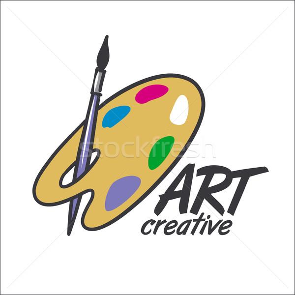 Vektor logo Pinsel Palette Kunst Schönheit Stock foto © butenkow