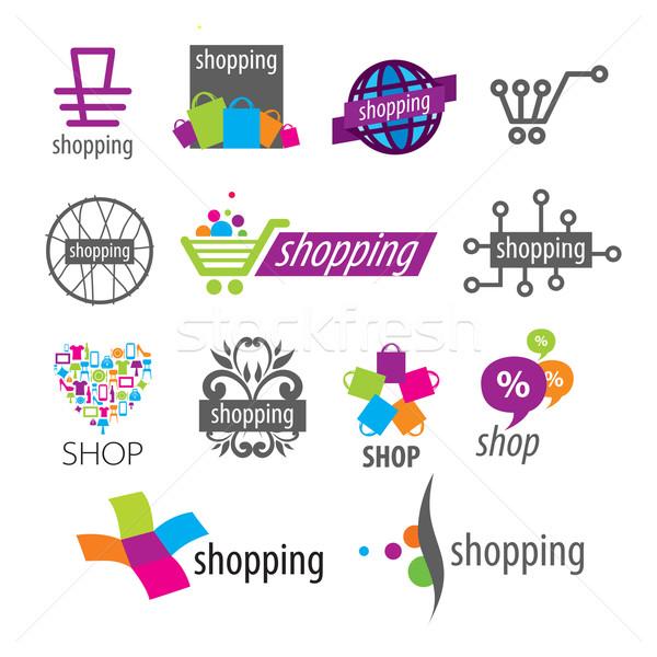 Collectie vector logos winkelen winkel geld Stockfoto © butenkow