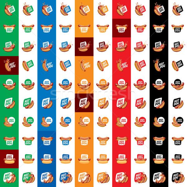 Vektor logo hot dog logoterv minta ikon Stock fotó © butenkow