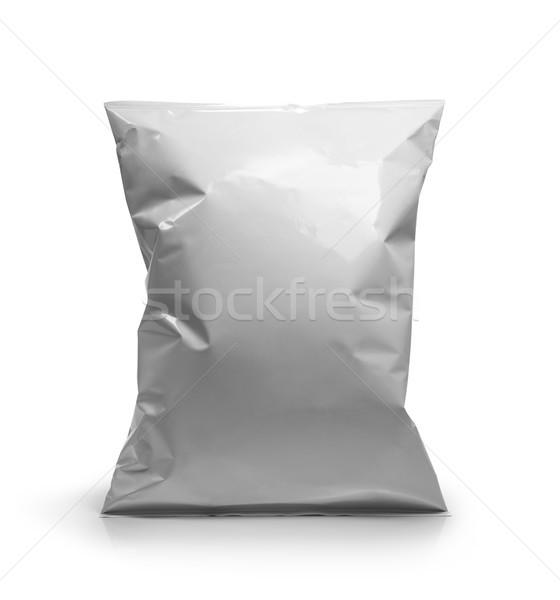 белый пакет шаблон пластиковых сумку Сток-фото © butenkow