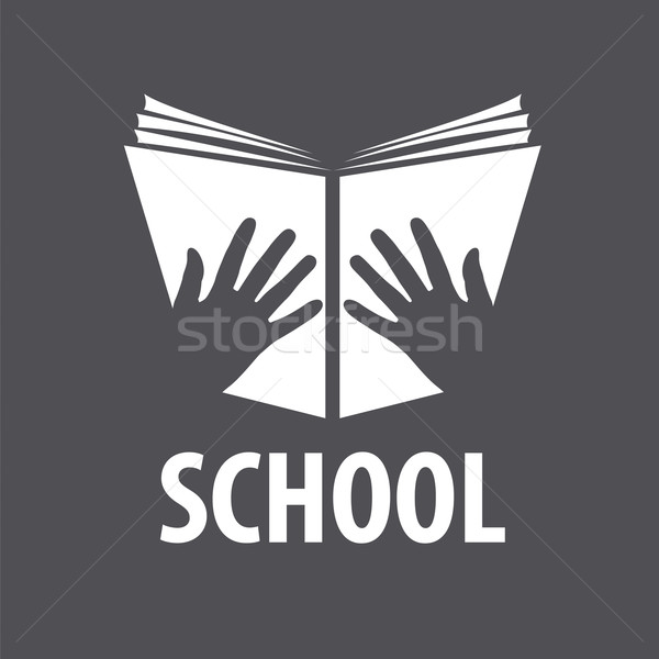Vetor logotipo livro aberto mãos livro criança Foto stock © butenkow