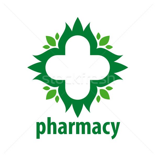 Stok fotoğraf: Logo · yeşil · çapraz · yaprakları · soyut · vektör