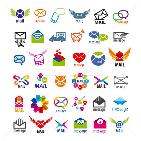 Collectie vector logos mail berichten hart Stockfoto © butenkow