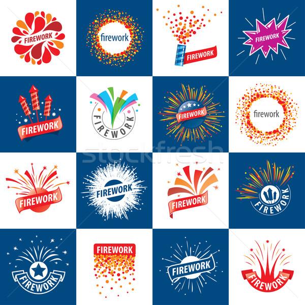 Conjunto vetor logos fogos de artifício abstrato moda Foto stock © butenkow