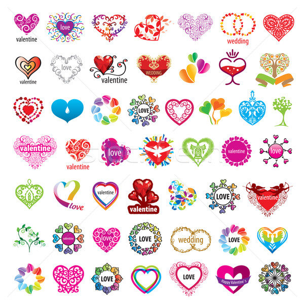biggest collection of vector logos hearts and valentines Stock photo © butenkow