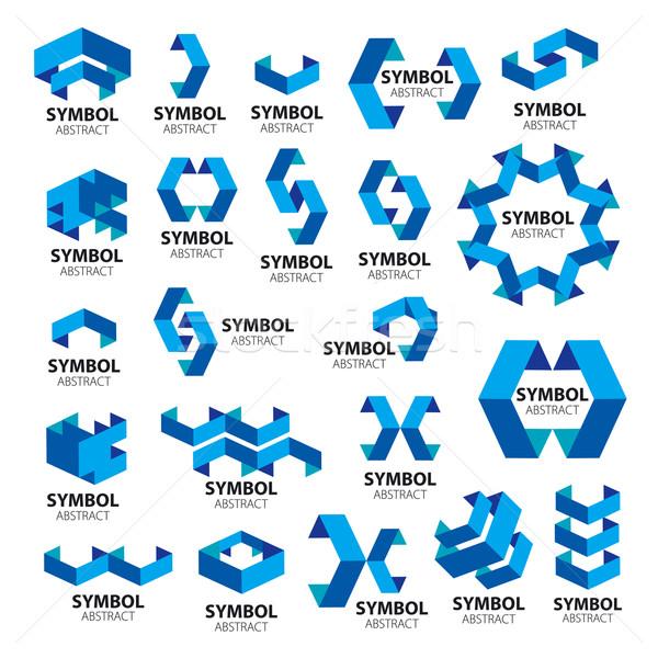 コレクション ベクトル ロゴス 幾何学的な 太陽 芸術 ストックフォト © butenkow