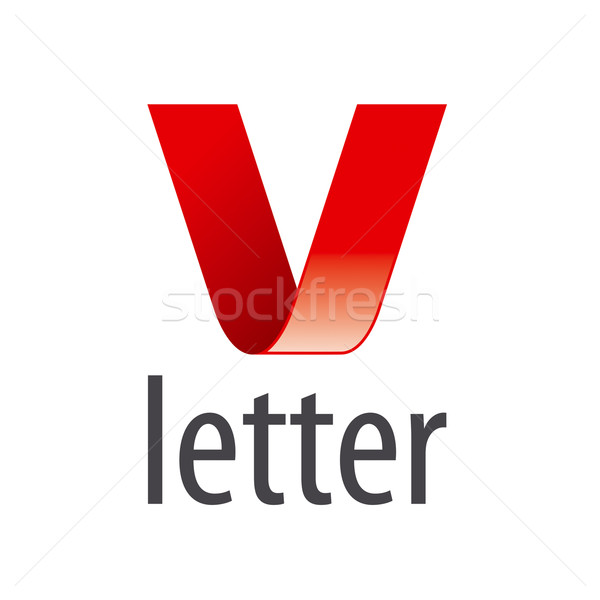 vector logo red ribbon in the shape of the letter V Stock photo © butenkow