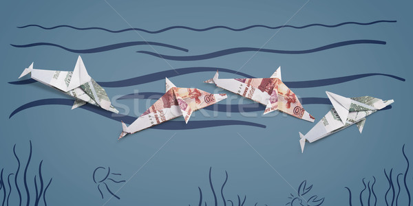 оригами дельфин из окрашенный морем Сток-фото © butenkow