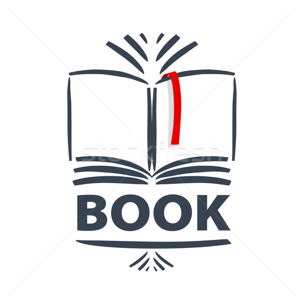 vector logo book and red bookmark Stock photo © butenkow