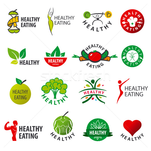 biggest collection of vector logos healthy eating Stock photo © butenkow
