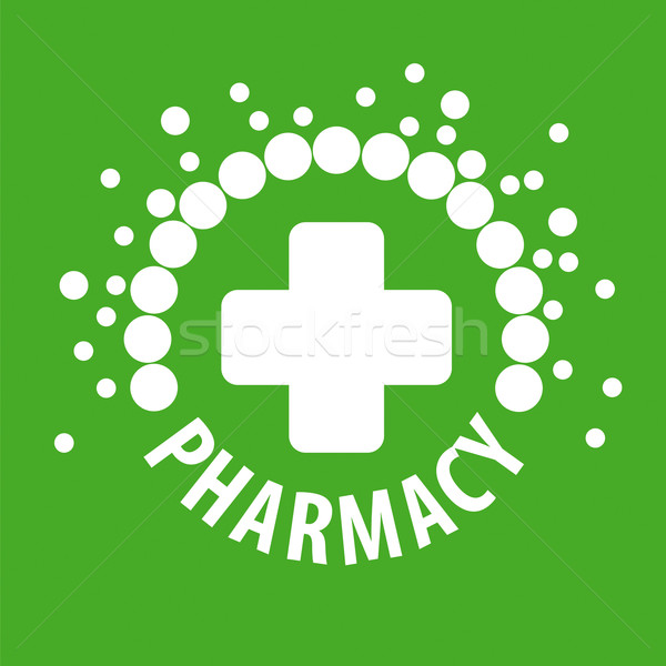 vector logo with pills on a green background Stock photo © butenkow