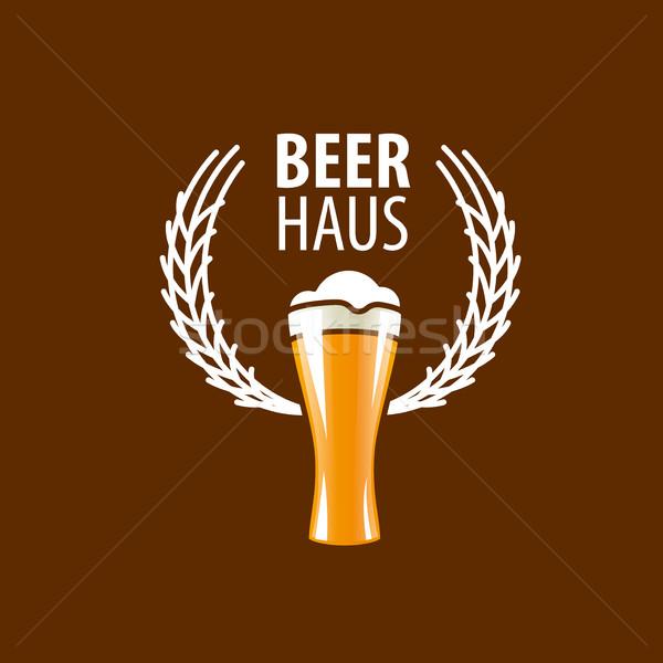 Vector bier logo sjabloon glas ontwerp Stockfoto © butenkow