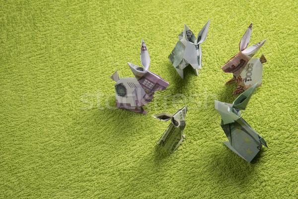 Origami nyúl bankjegyek zöld papír absztrakt Stock fotó © butenkow