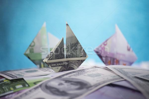 судно оригами деньги бизнеса банка Сток-фото © butenkow
