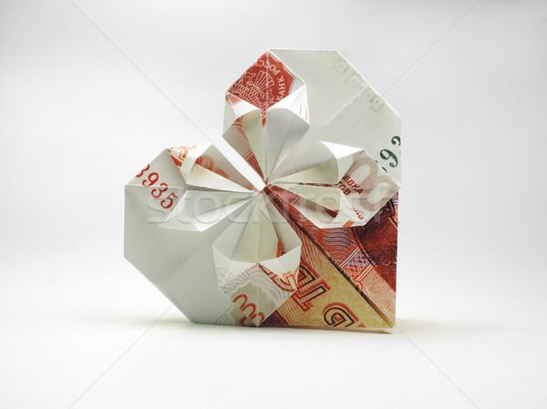 Origami coração cinco mil nota negócio Foto stock © butenkow
