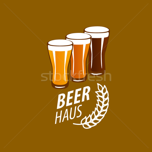 Vector cerveza logo plantilla vidrio diseno Foto stock © butenkow