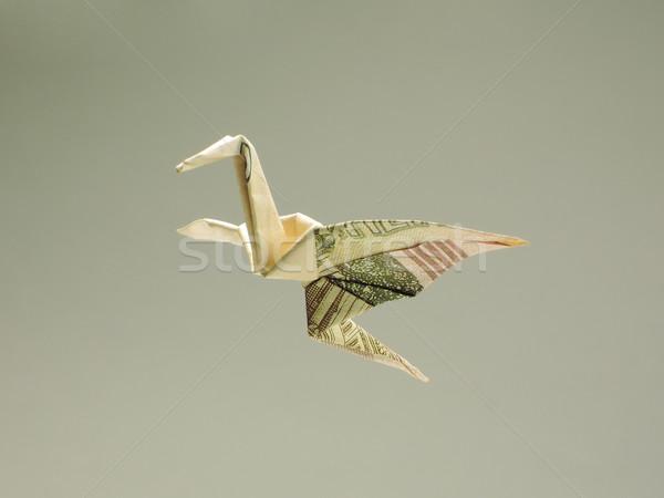 Madár origami ki pénz levegő üzlet Stock fotó © butenkow