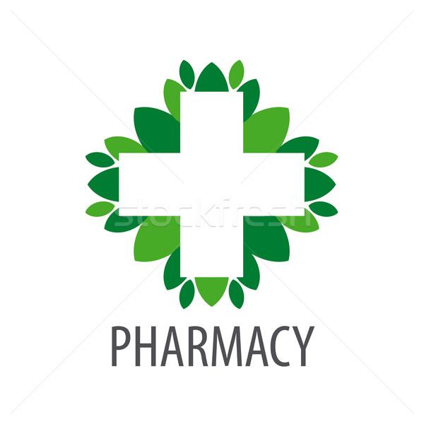 Stok fotoğraf: Vektör · logo · çapraz · yeşil · yaprakları · doktor