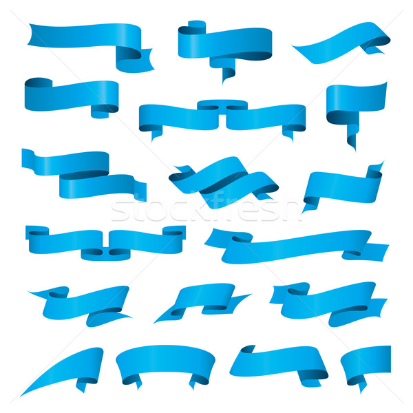 biggest collection of vector blue ribbons Stock photo © butenkow