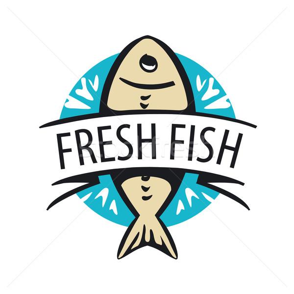 Foto stock: Vetor · logotipo · fresco · peixe · círculo · fita