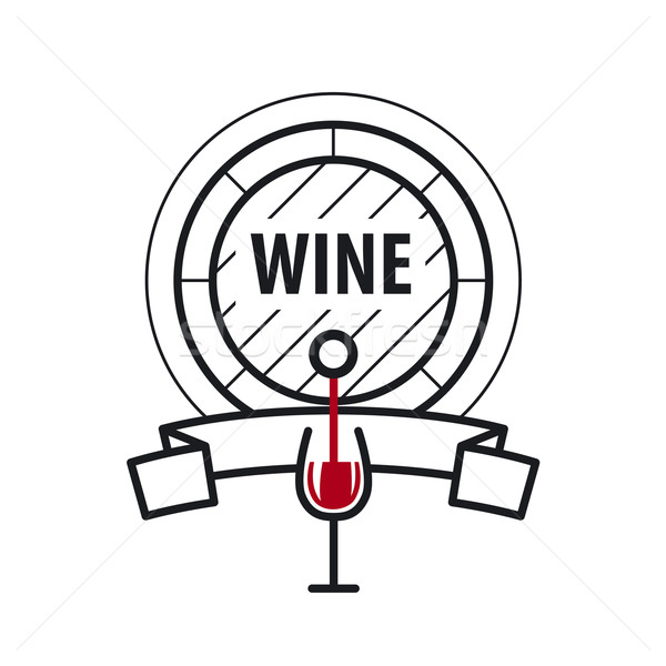 loop vector logo wine keg and a glass of wine Stock photo © butenkow