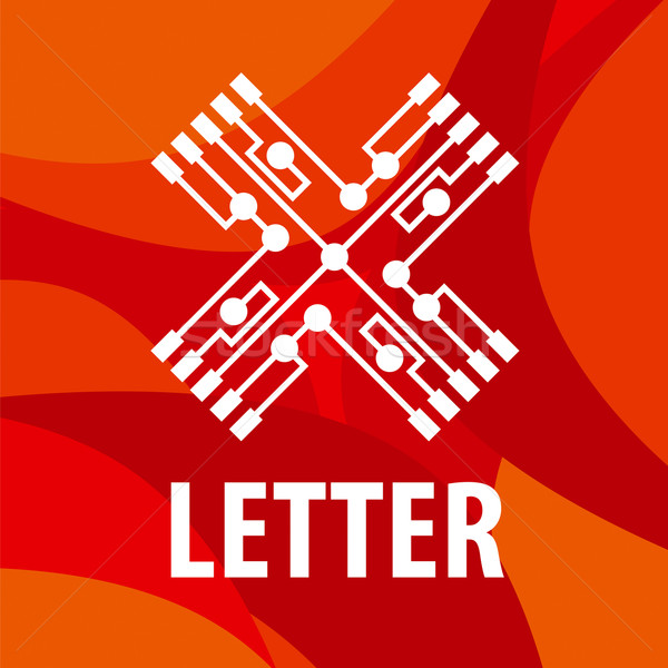 vector logo letter X in the form chip on a red background Stock photo © butenkow