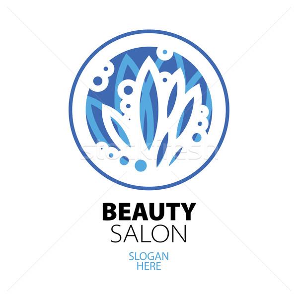 Kék labda levelek logo szépségszalon üzlet Stock fotó © butenkow