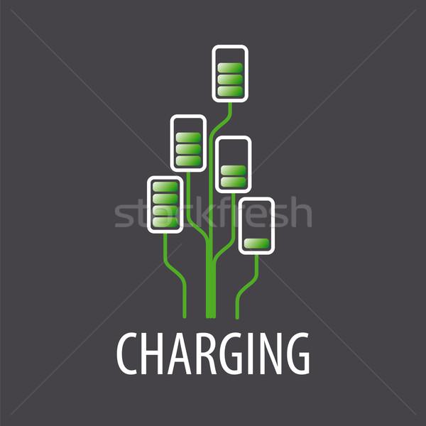 Wektora logo baterii drzewo Internetu projektu Zdjęcia stock © butenkow