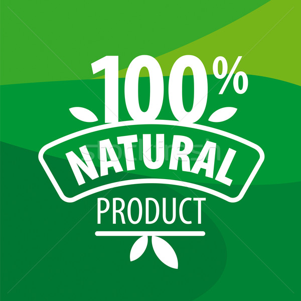 vector logo for 100% natural products on a green background Stock photo © butenkow