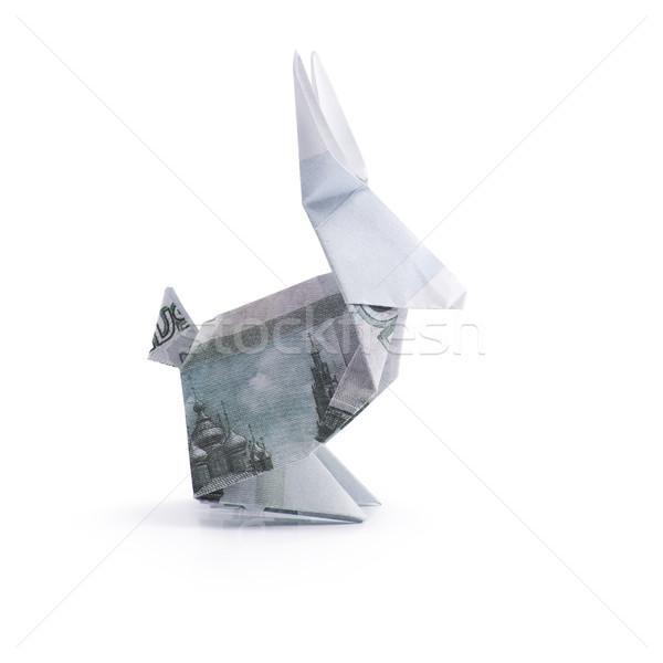 Origami zając biały papieru streszczenie Zdjęcia stock © butenkow