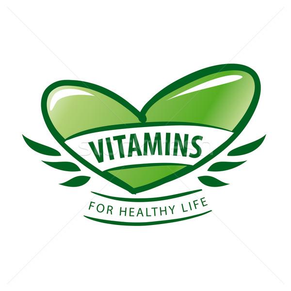 Vector logo vitaminas verde corazón alimentos Foto stock © butenkow