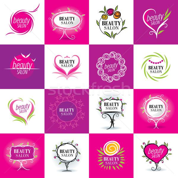 set of logos salons Stock photo © butenkow