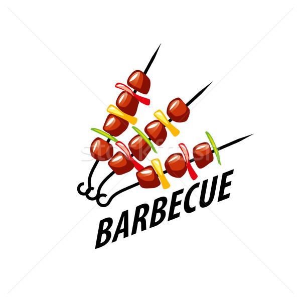 Barbecue fête logo conception de logo modèle alimentaire Photo stock © butenkow